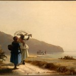 Two Women Chatting by the Sea