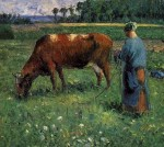 Girl Tending a Cow in a Pasture