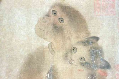 detailed view of monkey and cat in Yi Yuanji painting