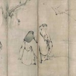 Chinese poets and an attendant beneath plum tree