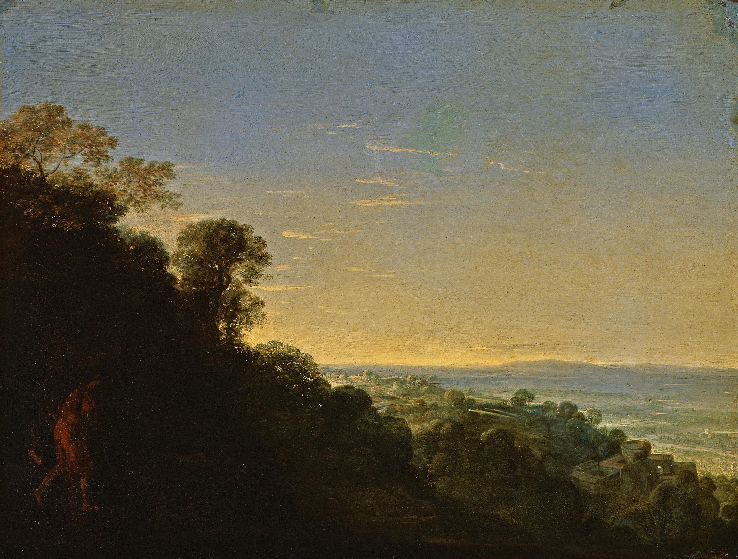 """GG 550, Adam Elsheimer (1578-1610), Morgenlandschaft (""""Aurora""""), Kupfer, 17 X 22 cm"""