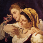 Two Women Throwing Flowers During Carnival